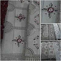 Скатерть ажурная с ручной ленточной вышивкой,150*220 см.