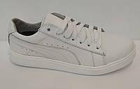 Кожаные белые кеды Teens, фото 1