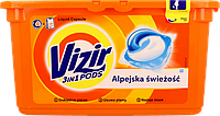 Капсулы для стирки цветного Vizir Go Pods Alpine Fresh 3в1 38 капсул