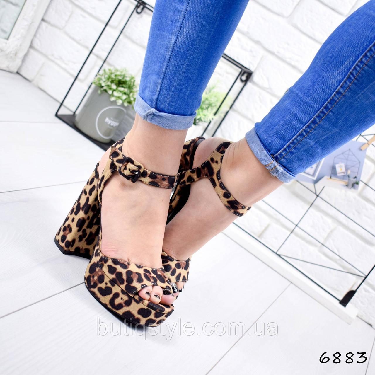 38 размер Босоножки женские леопард на платформе + каблук эко-замша 2019