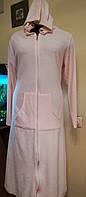 Женский  велюровый  халат большого размера 58-60  длинный , хлопок, Турция