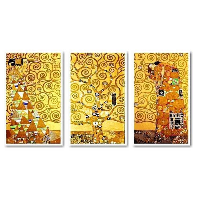 "Картина по номерам ""Ожидание. Древо жизни. Свершение. Худ Густав Климт (Триптих)"", 50x90см., Babylon"