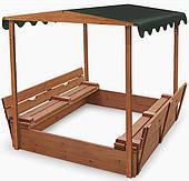 Песочница SportBaby деревянная №4 с крышей и лавочками