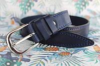 Ремень детский джинсовый синий кожаный