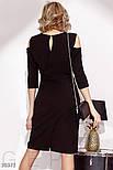 Приталенное платье с цветочным декором и открытыми плечами черное, фото 3