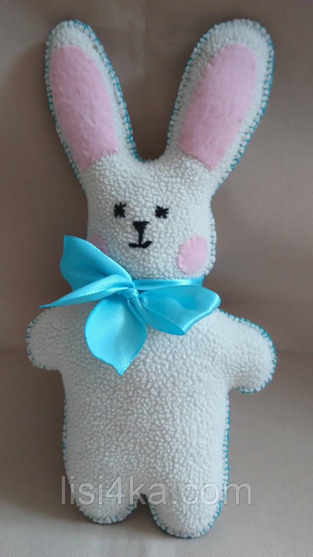 Мини игрушка белый заяц с голубым бантом