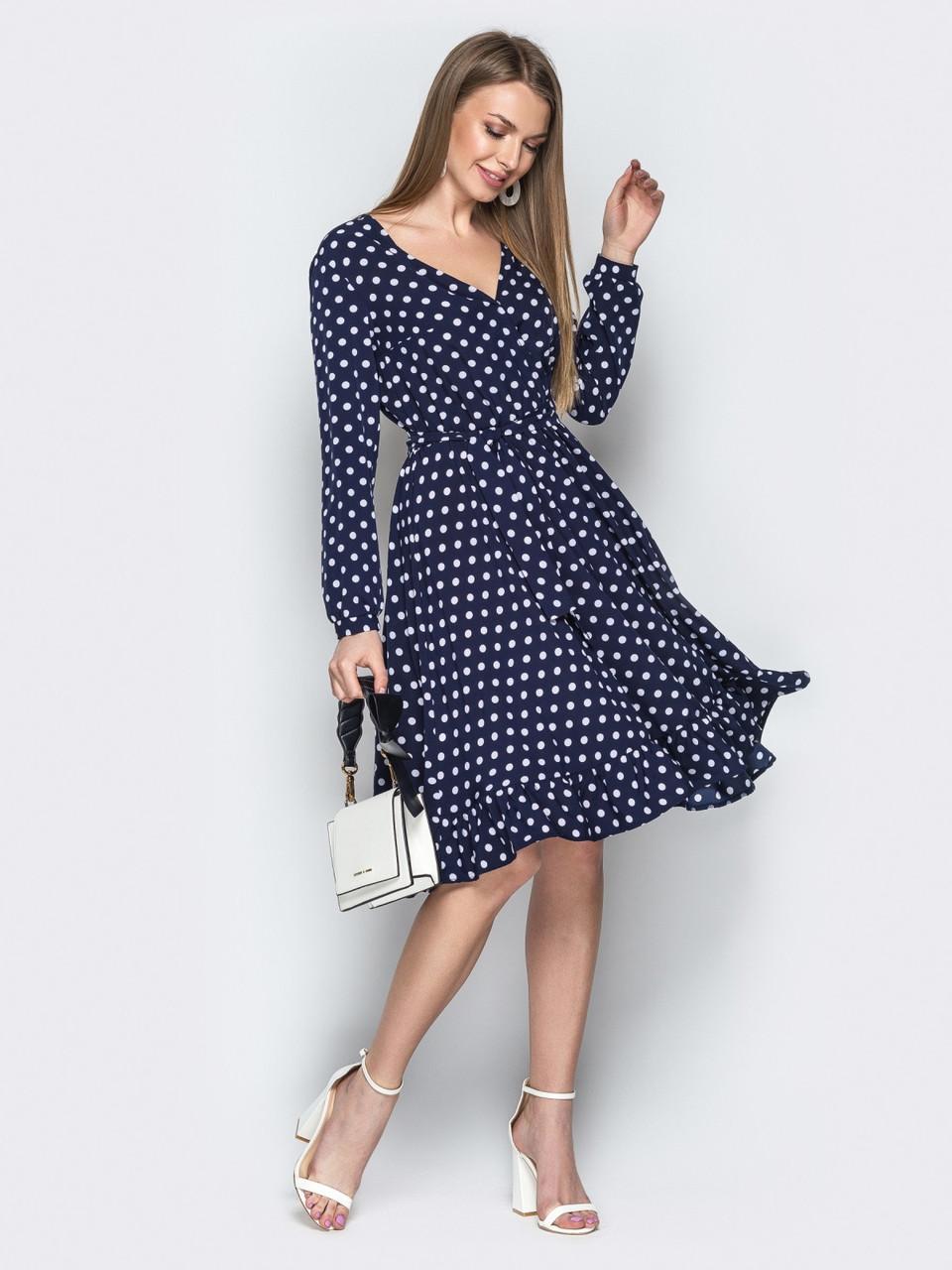 df5b51f1ffb Темно-синее женское платье в ретро стиле в горошек р.44  продажа ...