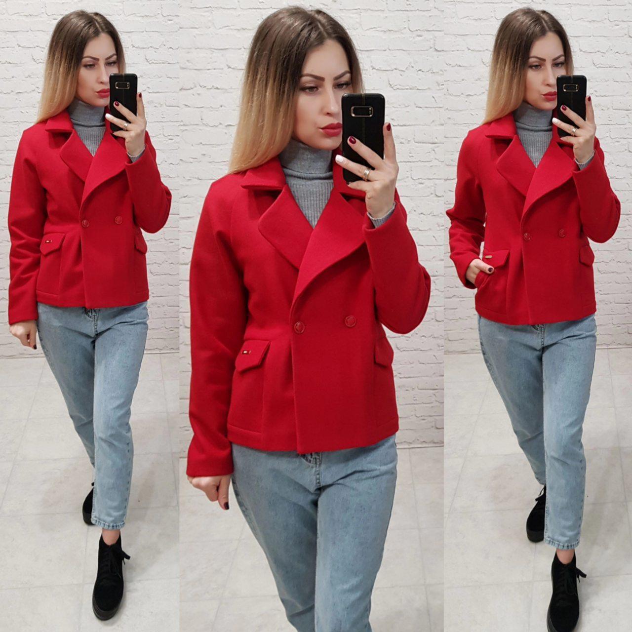 Короткое пальто свободного кроя, арт 826, цвет красный
