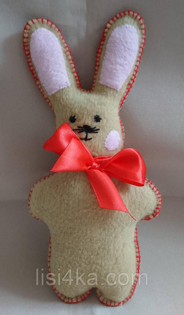 Мини игрушка бежевый заяц с красным бантом