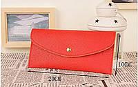 Клатч-кошелек женский «Red fashion» компактный прямоугольный на кнопке (красный)