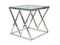 Прозрачный стеклянный журнальный столик с хромированным каркасом Zegna B