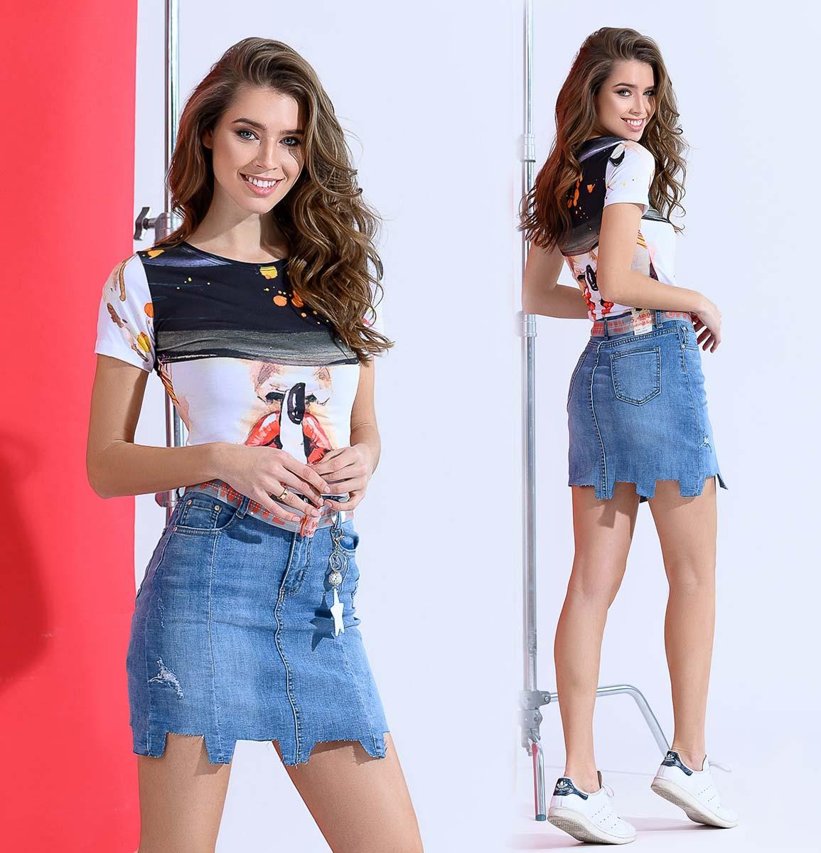 """Женская стильная короткая юбка до больших размеров 1813 """"Джинс Резанка Брелок"""""""