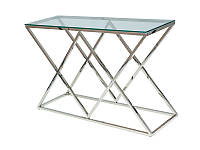 Прозрачный стеклянный журнальный столик с хромированным каркасом Zegna C