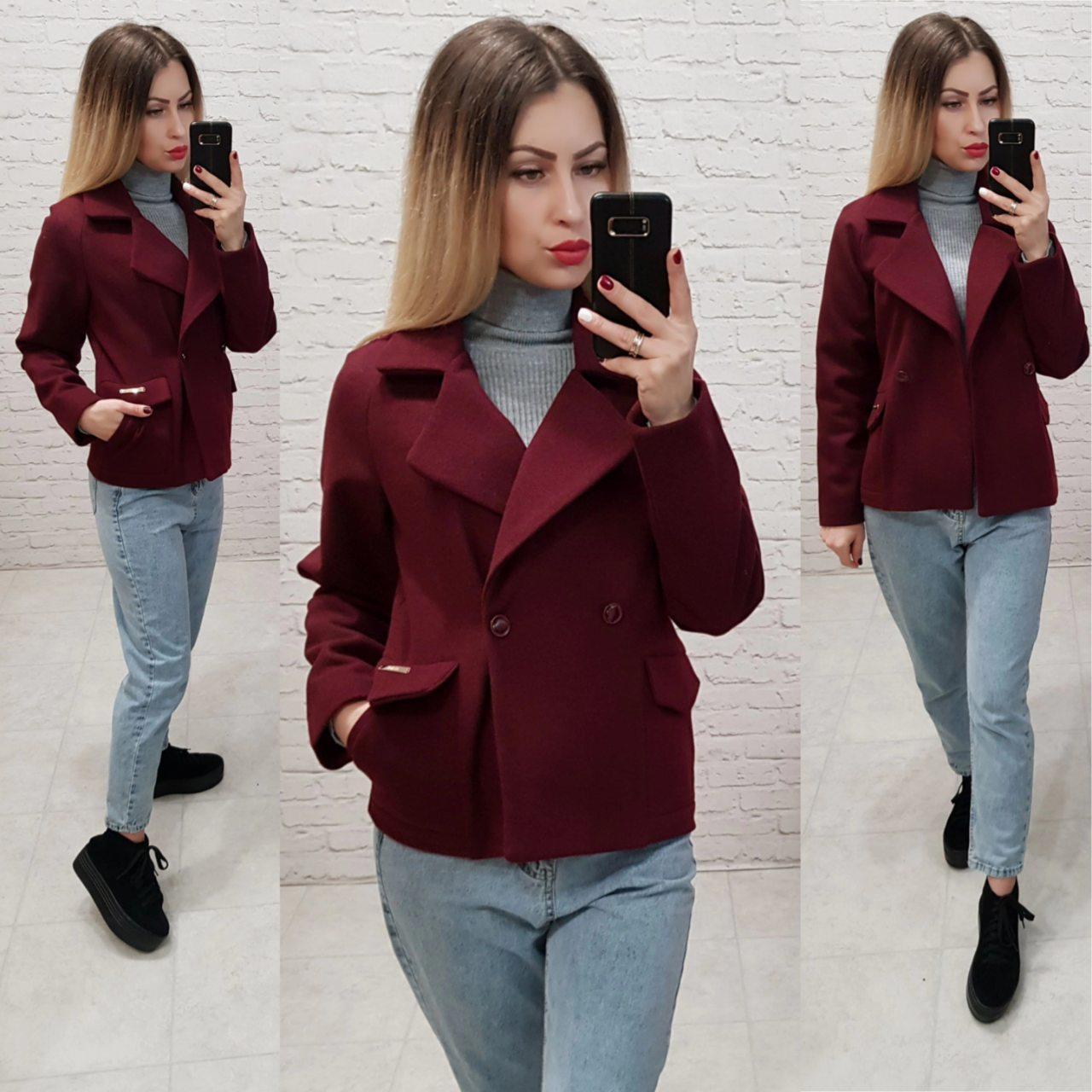 Короткое пальто свободного кроя, арт 826, цвет марсала
