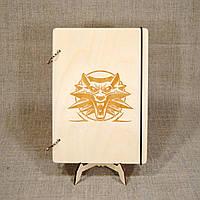 Скетчбук A5 Witcher. Блокнот с деревянной обложкой.