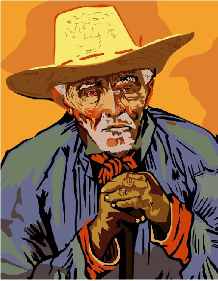 Картина по номерам Портрет крестьянина Патьенса Эскалье. Ван Гог, 40x50 см., Brushme