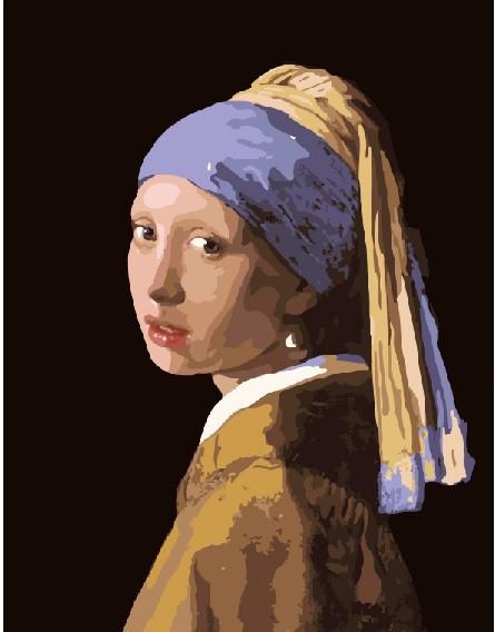 """Картина по номерам """"Девушка с жемчужной серёжкой. Ян Вермеев"""", 40x50 см., Brushme"""
