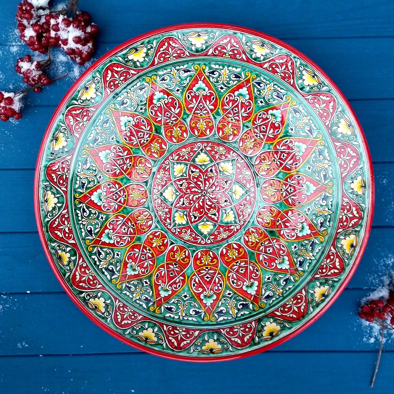 """УЦЕНКА. Ляган """"Ханский"""" из красной глины d 42 см. Узбекистан"""