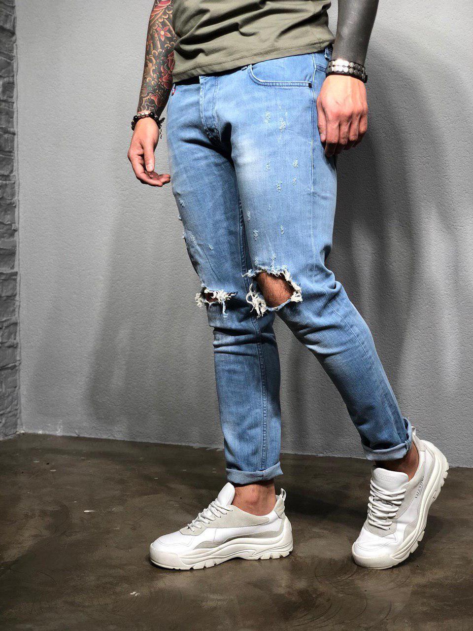 6397c3b53f4 Джинсы мужские синие рваные зауженные с подкатами весна лето осень ТОП  КАЧЕСТВО модные джинсы