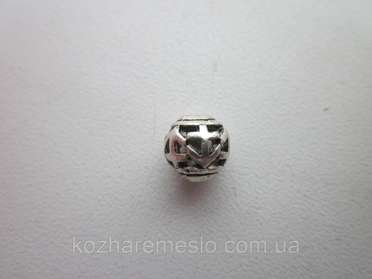 """Бусина металлическая (""""серебро"""")"""