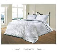 Белоснежный комплект жаккардового постельного белья Le vele с тесненным узором евроразмера
