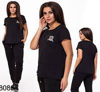 Модный спортивный костюм штаны с футболкой (черный) 828089