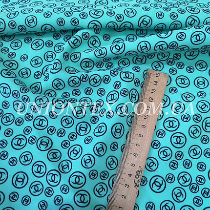 Ткань креп костюмка барби принт шанель бирюза, фото 2