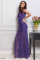 Облегающее платье в пол из гипюра без рукавов фиолетовое