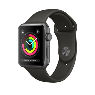 Apple Watch Series 3 38mm Space Gray Aluminum with Black Sport Band (MTF02)