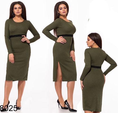059353228c6 Купить Ангоровое платье миди с разрезами (хаки) 828025 недорого ...