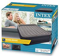 Надувная кровать-матрас Intex 64136, двуспальный 152 х 203 х 42 , встроенный насос