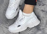 Женские кожаные кроссовки Adidas Falcon White (адидас фалкон, белые / кожа)