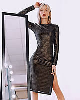 Женское платье с блеском - золото