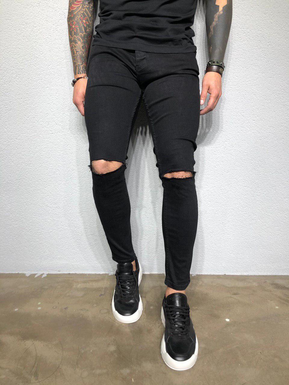 20cd747c667 Джинсы мужские черные рваные очень крутые весна лето осень ТОП КАЧЕСТВО зауженные  мужские джинсы