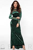 Облегающее бархатное платье в пол зеленое