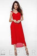 Легкое шифоновое платье в пол с открытой спиной красное