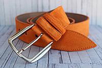 Ремень женский замшевый рыжий оранжевый кожаный 4 см