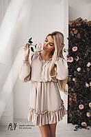 Женское платье шифон - бежевый