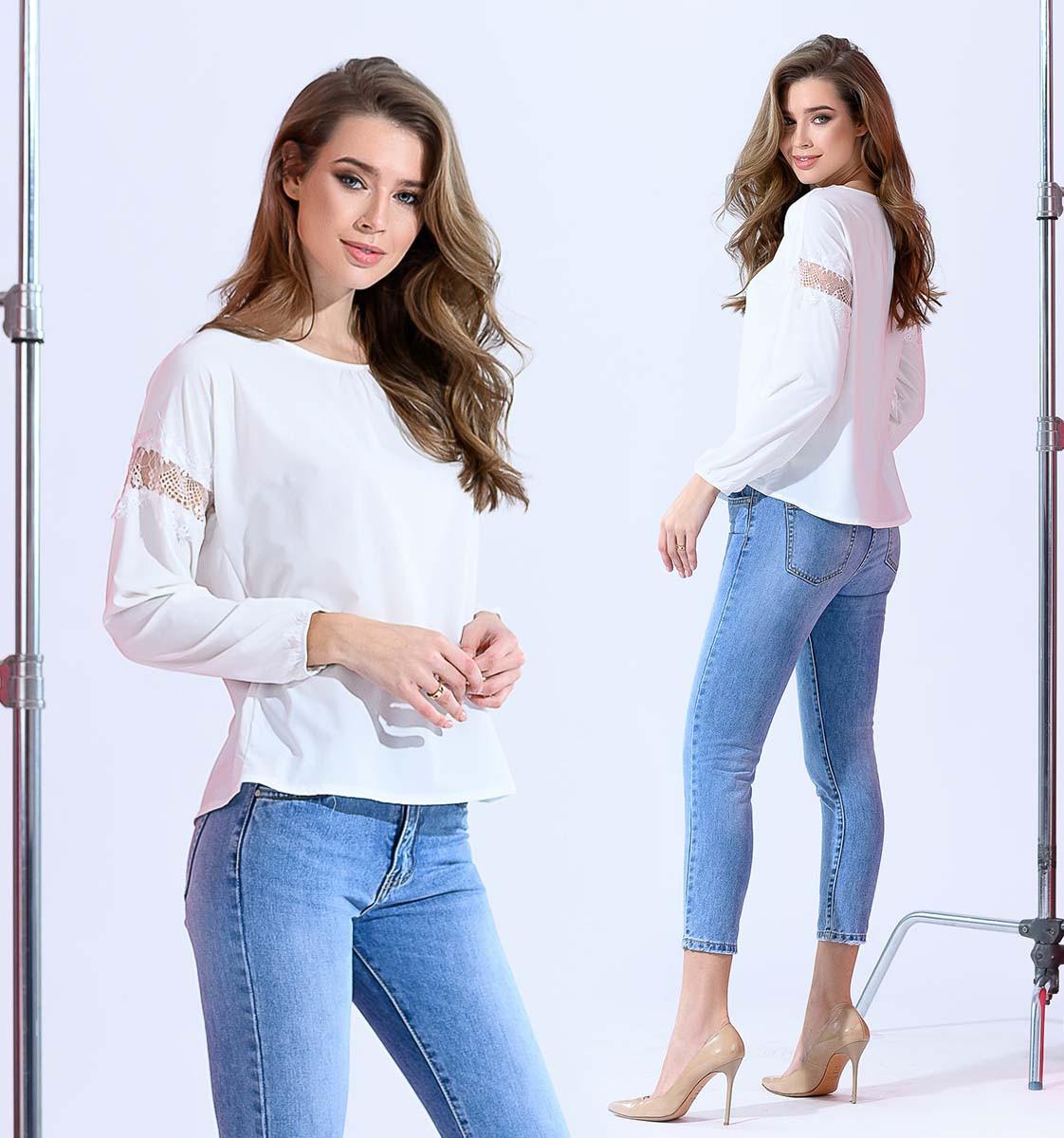"""Элегантная женская блузка до больших размеров """"Софт Рукава Вставки Кружево"""" в расцветках"""