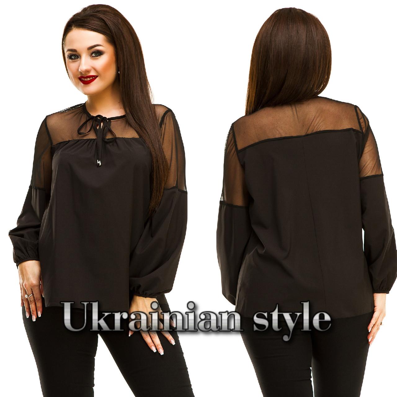 fb046e3ac11 Красивая батальная однотонная блуза с сеткой. Много цветов! -  Интернет-магазин
