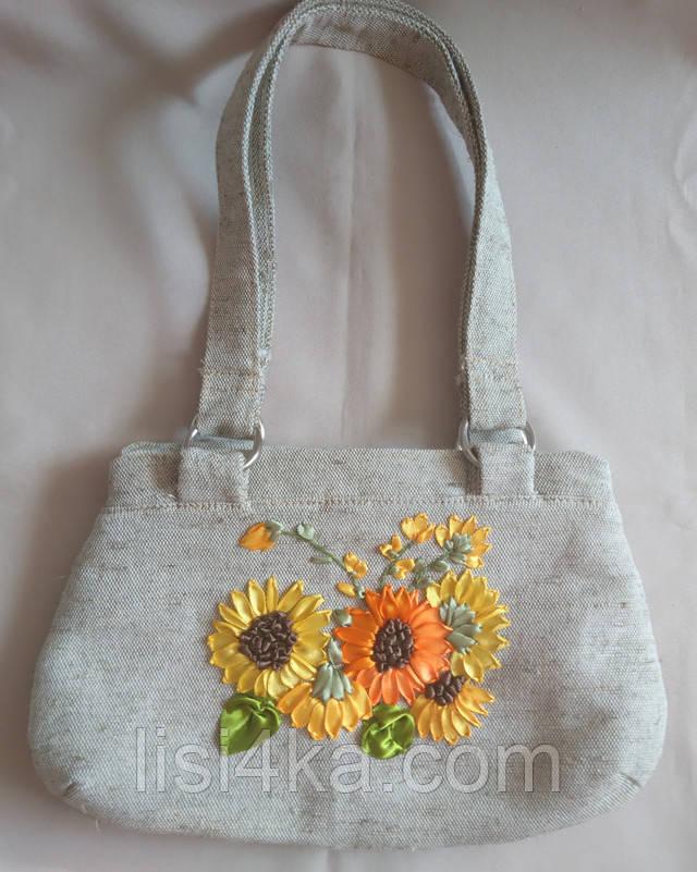 Средняя парусиновая сумка с вышивкой лентами подсолнухи