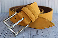 Женский ремень замшевый желтый горчичный кожаный 4 см