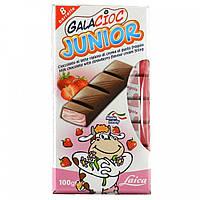 Шоколад молочный без консервантов с клубничной начинкой Junior  Laica 100г Италия