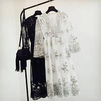Женское длинное платье из органзы с пайетками белое, фото 1