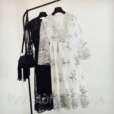Женское длинное платье из органзы с пайетками белое