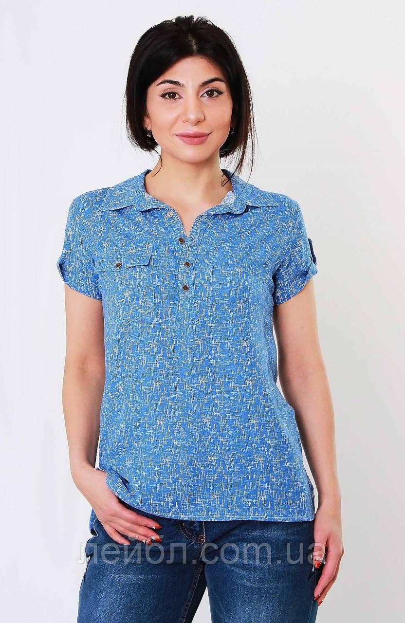 Блуза с принтом, цвет-голубой. Турция. разм.42, 44