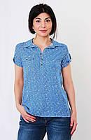 Блуза с принтом, цвет-голубой. Турция. разм.42, 44, 46