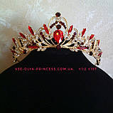Корона, диадема, тиара под золото с синими камнями, высота 5 см., фото 3