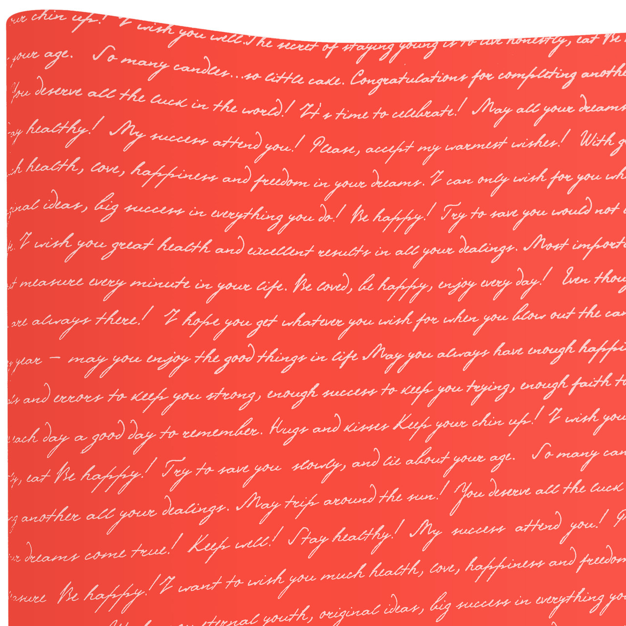 Бумага флористическая Письмо белое на красном