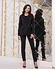 Элегантный деловой женский брючный костюм в полоску: пиджак на пуговице и брюки с высокой талией с поясом, фото 5